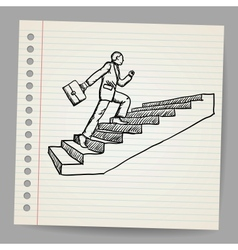 Doodle businessman with briefcase walking upstairs vector