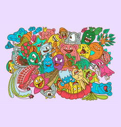 doodles color monsters collection set vector image