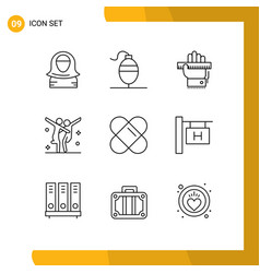 Editable line pack 9 simple outlines patch vector