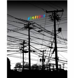 Electricity birds vector
