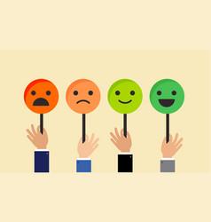Emoticons feedback concept for satisfaction surve vector