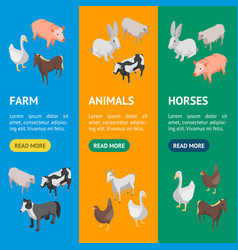 farm animals 3d banner vecrtical set isometric vector image