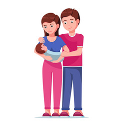 father and mother holding hands of their child vector image