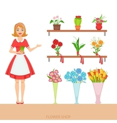 Female Florist In The Flower Shop Demonstrating vector