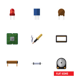 flat icon technology set of mainframe resistor vector image