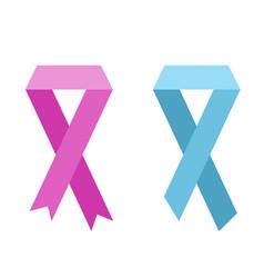 Flat ribbon of world cancer vector
