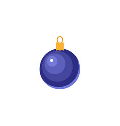 flat style shiny blue ball christmas icon vector image