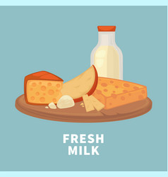 fresh milk and tasty cheese on wooden tray vector image