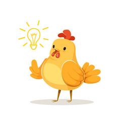 Funny cartoon chick bird thinking colorful vector