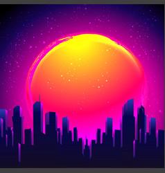 Futuristic synth wave 80s vector