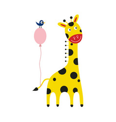 Giraffe cartoon character with pink balloon tied vector