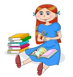 girl with books vector image vector image