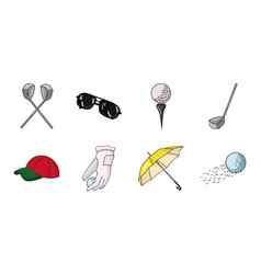 golf and attributes icons in set collection for vector image