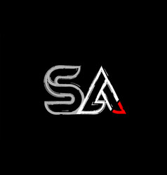Grunge white red black alphabet letter sa s vector