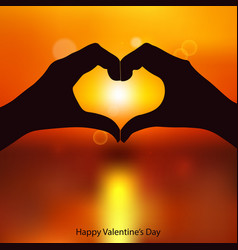 Hand heart in the sun for valentines day vector