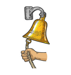 Hand ring in ship bell sketch vector