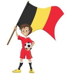 Happy soccer fan holds belgium flag vector