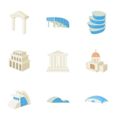 House icons set cartoon style vector