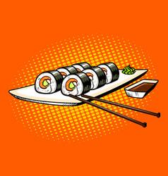 Japanese food rolls pop art vector
