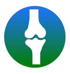 knee joint sign white icon in bluish vector image