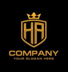 letter ha luxury logo design vector image