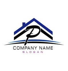 Letter p house logo vector