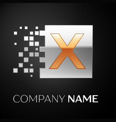 Letter x logo symbol in the golden-silver square vector