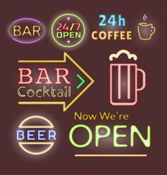 light neon labels font vector image