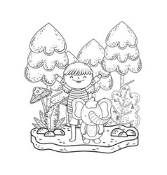 little elephant with girl in the landscape vector image