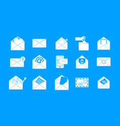 Mail icon blue set vector