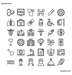 Medical and healthcare outline icons perfect pixel vector