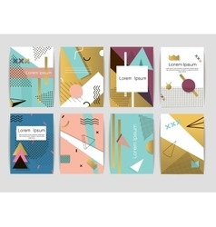 Memphis cards pattern of geometric shapes vector image