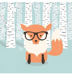 Merry Christmas card with hipster orange fox vector