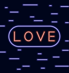 neon text love signboard on blue background vector image