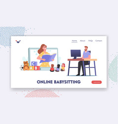 Online babysitting service landing page template vector