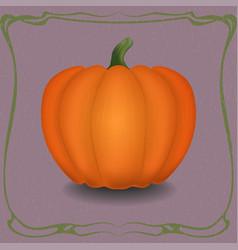 orange pumpkin in vintage frame vector image