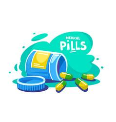 organic medical pills falling vector image
