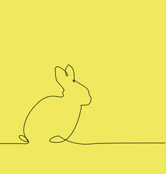 outline easter rabbit on yellow vector image