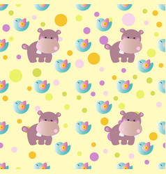 pattern with cartoon cute toy baby behemoth bird vector image