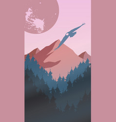pink landscape with rock and eagle vector image