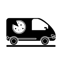 pizza delivery car van service pictogram vector image