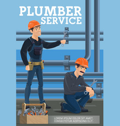 plumber service heating pipes replacement vector image
