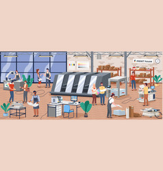 printing house polygraphy industry isometric vector image
