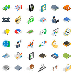 Purchasing activity icons set isometric style vector