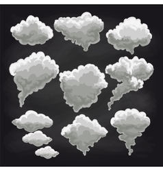 Rain clouds collection on chalkboard vector image vector image