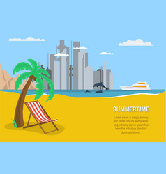 Rectangular banner summertime vector