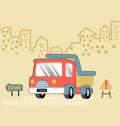 Red truck on buildings background cartoon vector