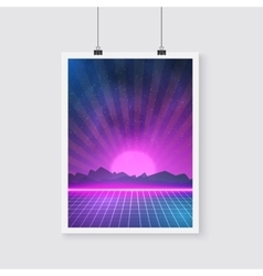 Retro Disco 80s Neon Poster made in Tron style vector image