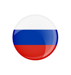 russia flag in circle shape transparent glossy vector image
