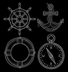 sailing symbols - steering wheel anchor lifebuoy vector image
